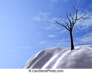 snow-bound hills, brightly-blue sky and asleep trees