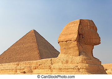 Sphinx and the Pyramid of Cheops at Giza, Egypt