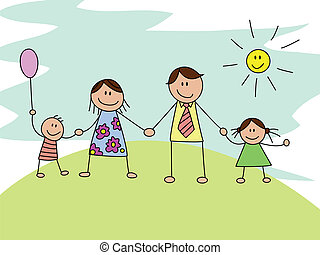 Happy family - Vector illustration of happy family sketch...