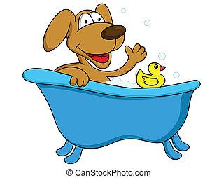 Dog bathing - Vector illustration of dog bathing