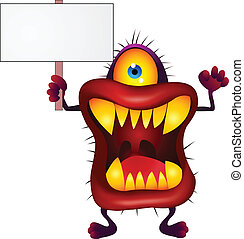 Monster with blank sign