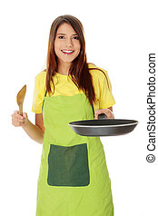 Young woman cooking healthy food, isolated on white