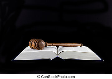 Gavel and Legal Text Books - A gavel atop legal text book...