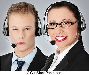 Call centre employee - Attractive young people working in a...