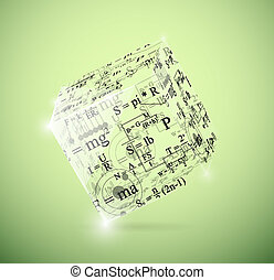 Physical cube - Glass cube with physical formulas Eps 10