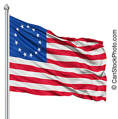 Waving Flag of Betsy Ross - Realistic 3d flag of Betsy Ross...