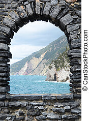 Ligurian coast. View from the old fortress in Portovenere...