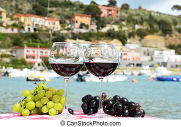 Pair of wineglasses and grapes against the harbour of...