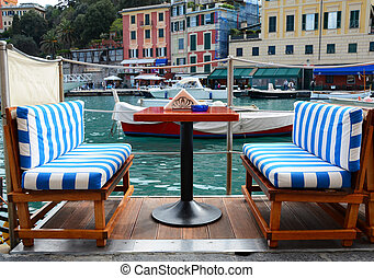 Street cafe in Portofino, Italy