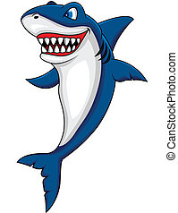 heureux, requin, dessin animé