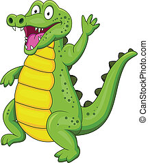 Crocodile cartoon with hand waving