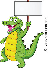 Crocodile cartoon with blank sign