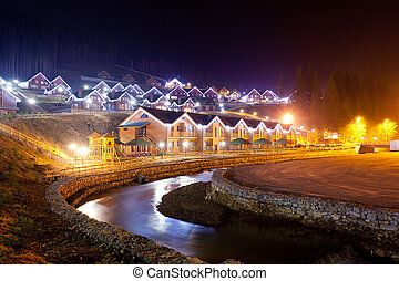 house - Houses decorated and lighted for christmas at night