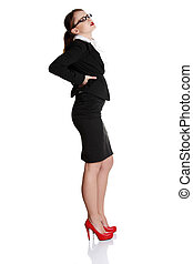 Business woman with backache - Full length of business woman...