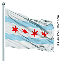 Waving Flag of USA city, Chicago - United States of America...