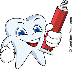 Tooth with tooth paste