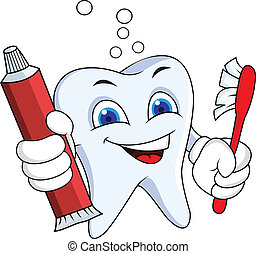 Tooth with tooth paste and brush