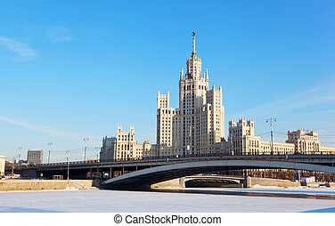 High-rise building on Kotelnicheskaya embankment in Moscow,...