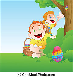 Kids Playing with Easter Egg Vector