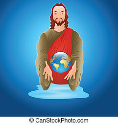 Jesus Christ with Earth - Conceptual Art of Jesus Christ...