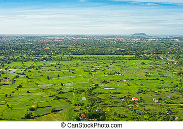 View from balloon of Siem Reap city, Cambodia
