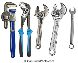 Wrenches - Adjustable wrenches, spanners isolated on white.