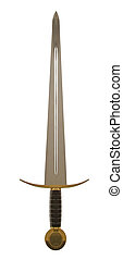 Sword - Long medieval metal sword, isolated over white