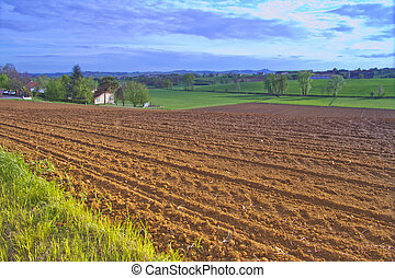 Fields - Landscape of fields, with little town on the back