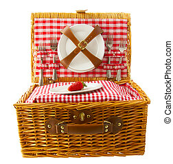 Picnic basket - Wooden basket for picnic with plates and a...