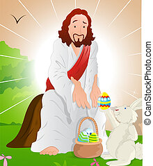 Jesus Christ with Easter Bunny - Concept Art of Illustration...