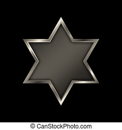 Star of David. - Shield of David on a black background.