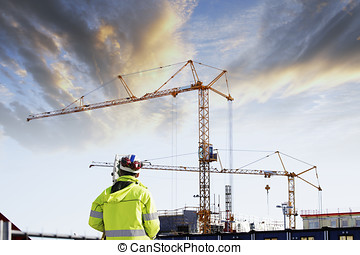 geodesy and construction site - geodetist with geodesy...