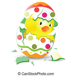 Cute Easter Chicken in Egg Shell - Conceptual Art of Cute...
