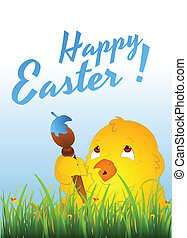 Easter Chicken with Painting Brush - Creative Design Art of...