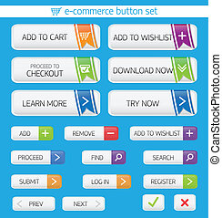 E-commerce buttons set - E-commerce web button set with...