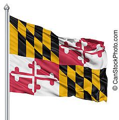 Waving Flag of USA state Maryland