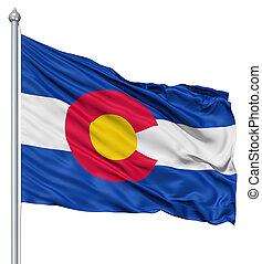 Waving Flag of USA state Colorado