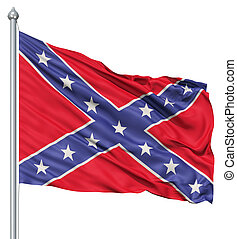 Waving Flag of Confederate - Realistic 3d flag of...