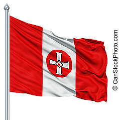 Waving Flag of KKK - Realistic 3d flag of KKK fluttering in...