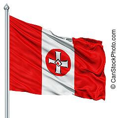 Waving Flag of KKK - Realistic 3d flag of KKK fluttering in...