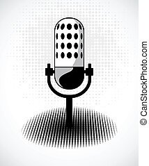 Retro microphone on dots card. Vector - Retro microphone....
