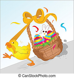 Chicken Running with Easter Basket