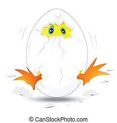 Baby Chick in White Egg - Creative Design Art of Baby Chick...