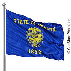 Waving Flag of USA state Oregon