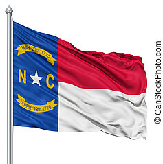 Waving Flag of USA state North Carolina - Realistic 3d flag...