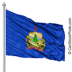Waving Flag of USA state Vermont - Realistic 3d flag of...