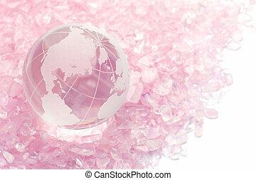 rose quartz and terrestrial globe - I put a terrestrial...