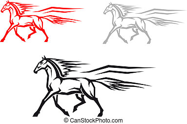 Fast mustang horse in three variations for mascot or emblem...