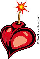 Cartoon heart bomb