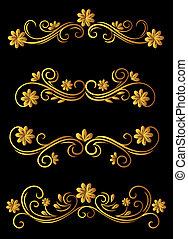 Vintage floral elements and embellishments set for ornate